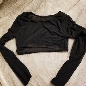 Tops - Mesh long sleeve crop top